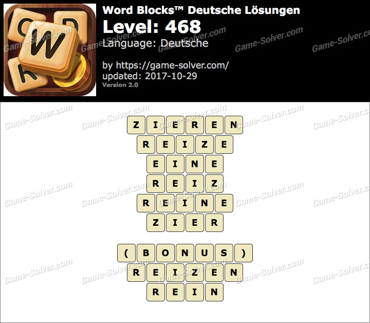 Word Blocks Level 468 Lösungen