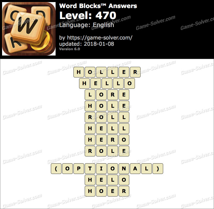 Word Blocks Level 470 Answers