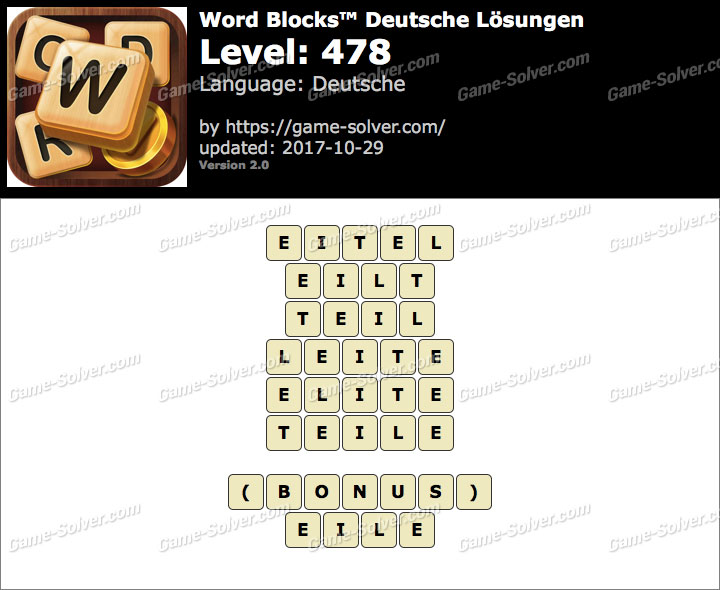 Word Blocks Level 478 Lösungen