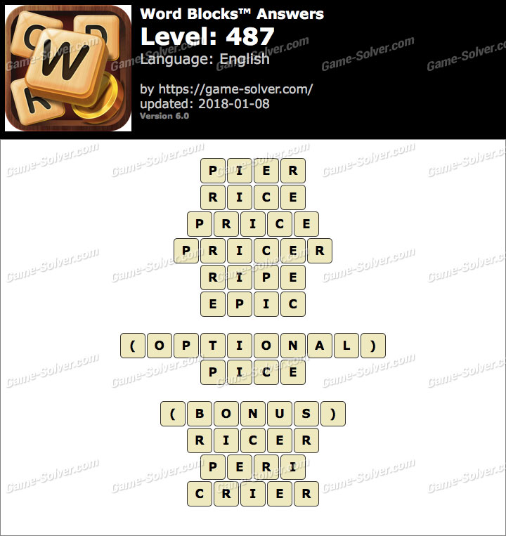 Word Blocks Level 487 Answers