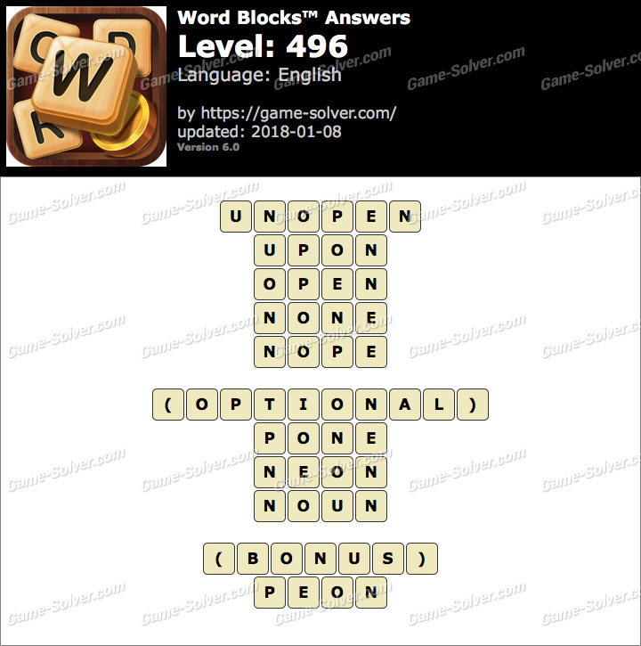 Word Blocks Level 496 Answers