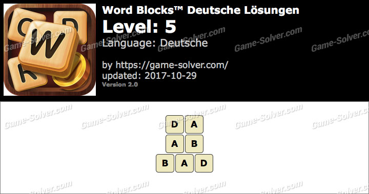 Word Blocks Level 5 Lösungen