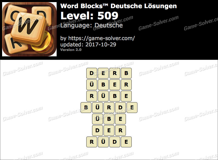 Word Blocks Level 509 Lösungen