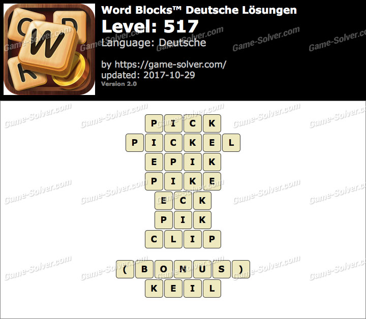 Word Blocks Level 517 Lösungen