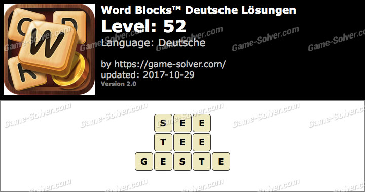 Word Blocks Level 52 Lösungen