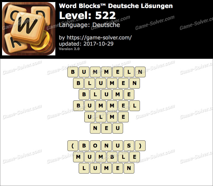 Word Blocks Level 522 Lösungen