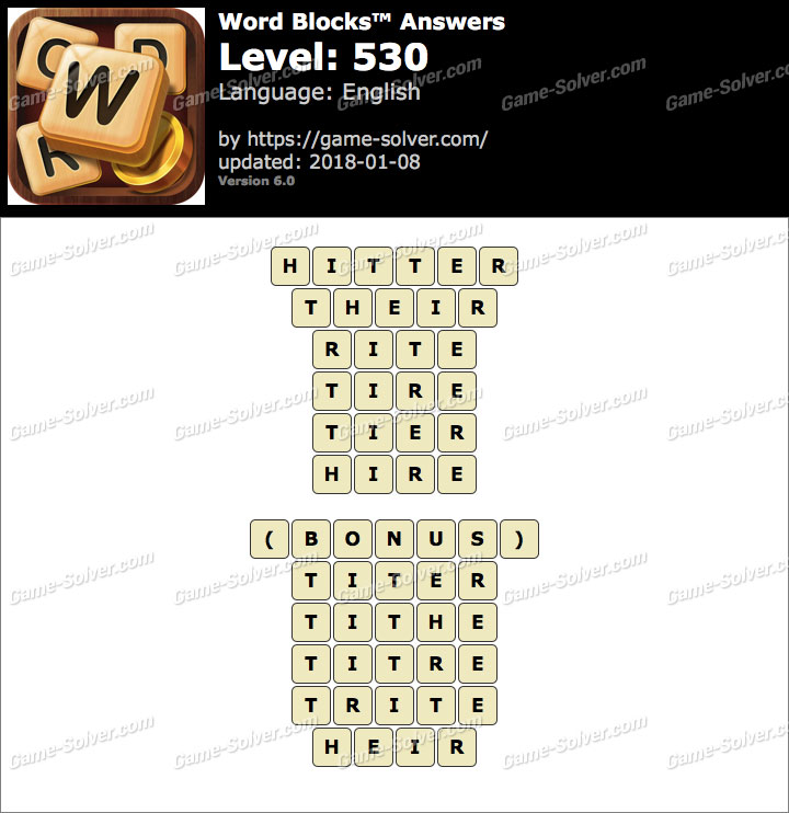 Word Blocks Level 530 Answers