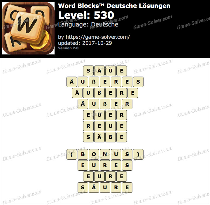 Word Blocks Level 530 Lösungen