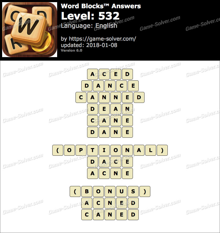 Word Blocks Level 532 Answers
