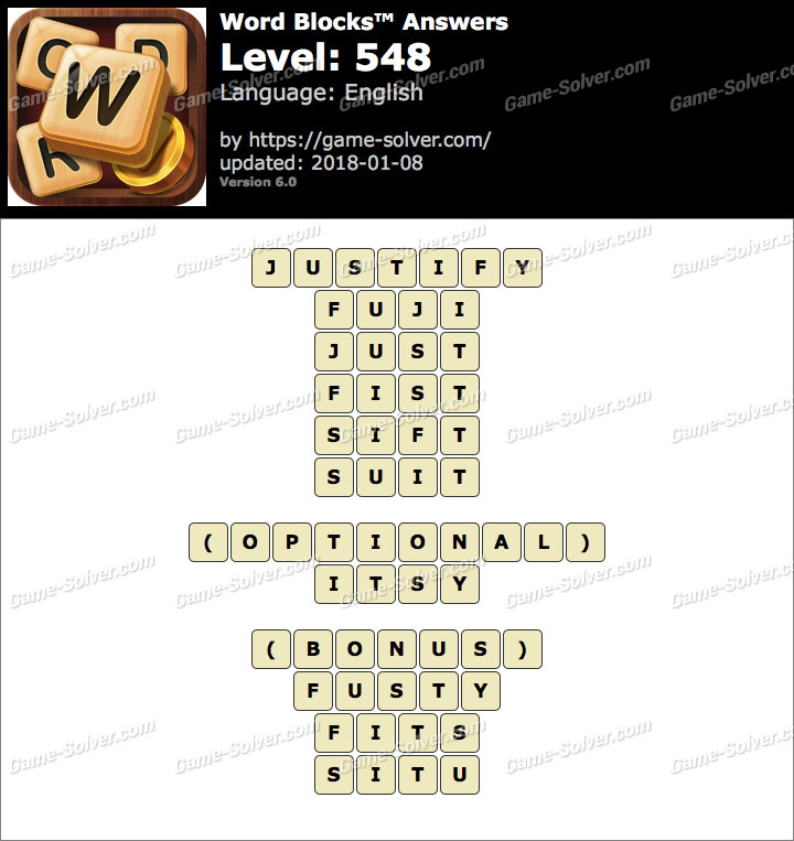 Word Blocks Level 548 Answers