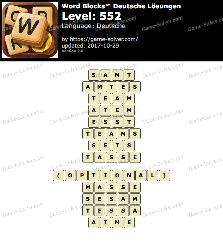 Word Blocks Level 552 Lösungen