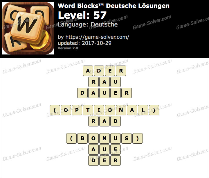 Word Blocks Level 57 Lösungen