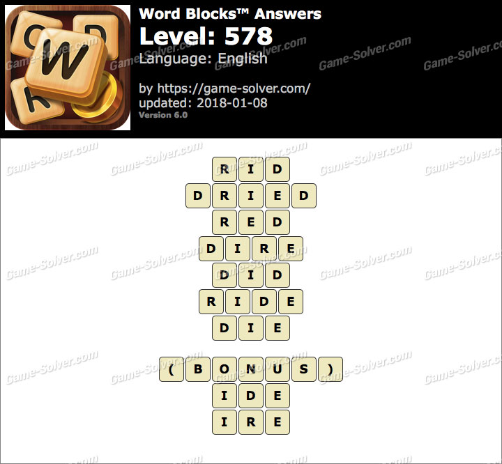 Word Blocks Level 578 Answers