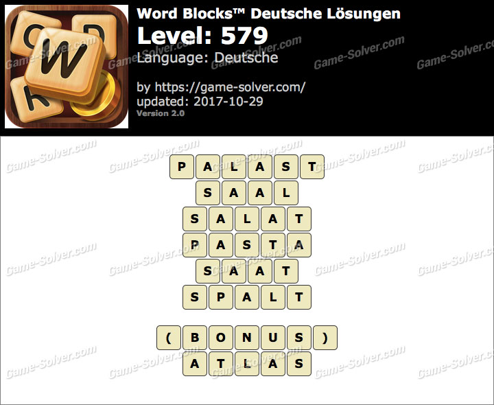Word Blocks Level 579 Lösungen