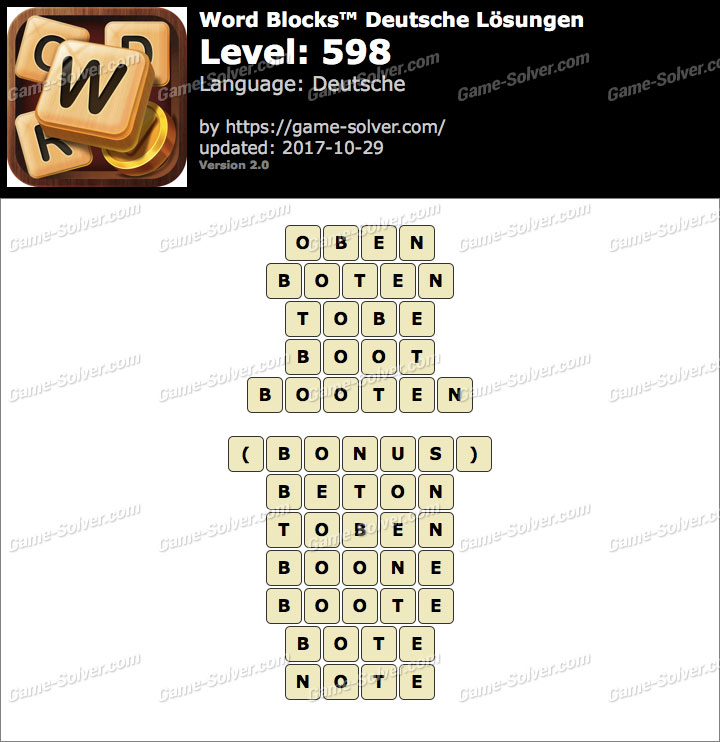 Word Blocks Level 598 Lösungen