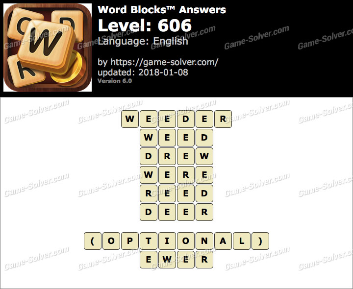 Word Blocks Level 606 Answers