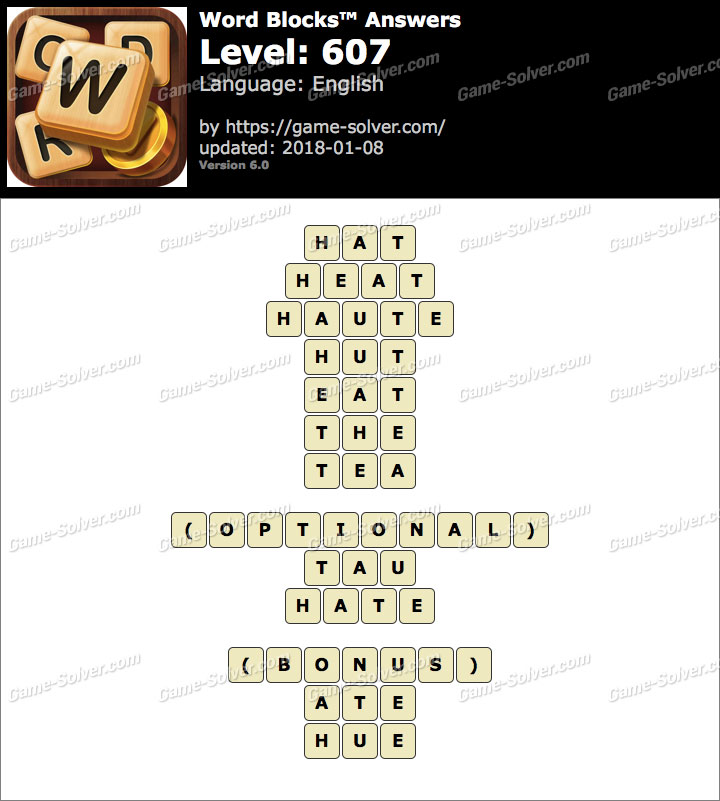 Word Blocks Level 607 Answers