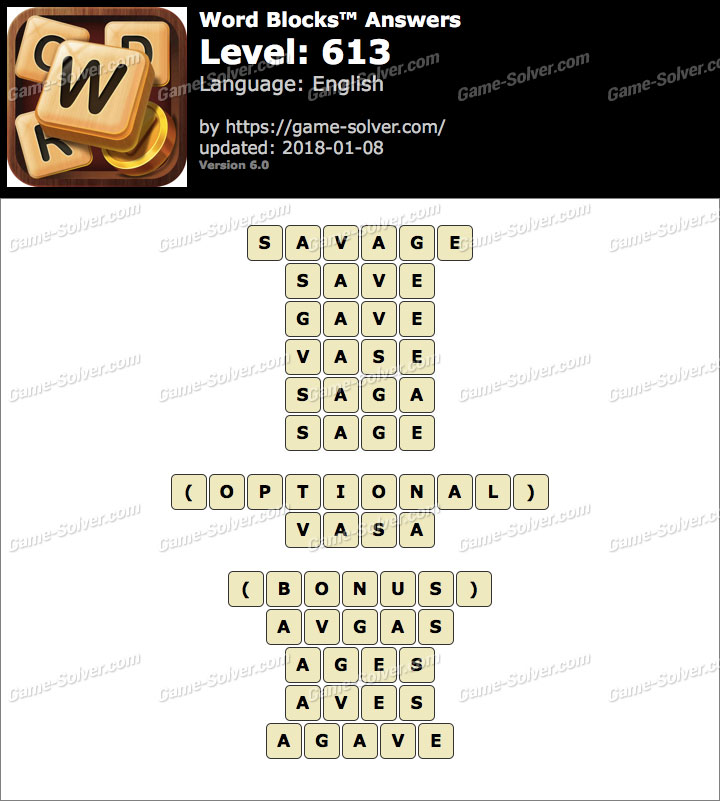 Word Blocks Level 613 Answers
