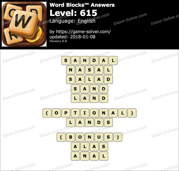 Word Blocks Level 615 Answers