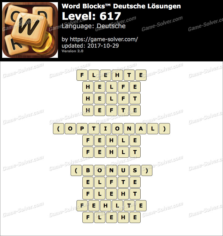 Word Blocks Level 617 Lösungen