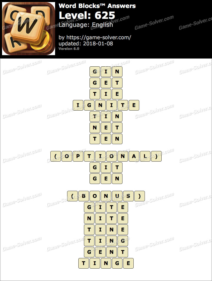 Word Blocks Level 625 Answers