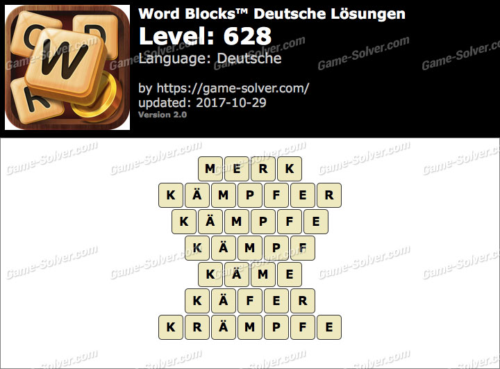 Word Blocks Level 628 Lösungen