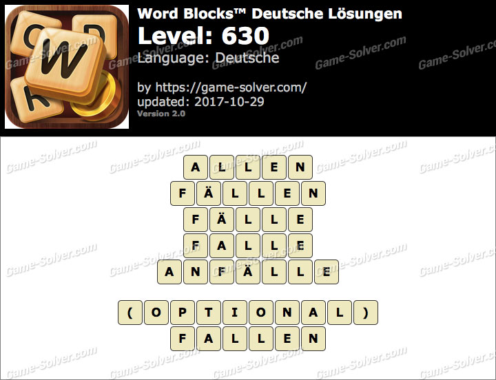 Word Blocks Level 630 Lösungen