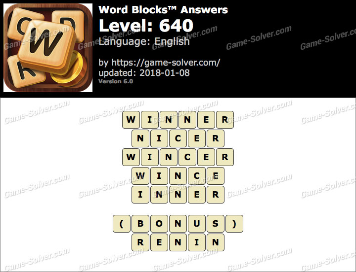 Word Blocks Level 640 Answers