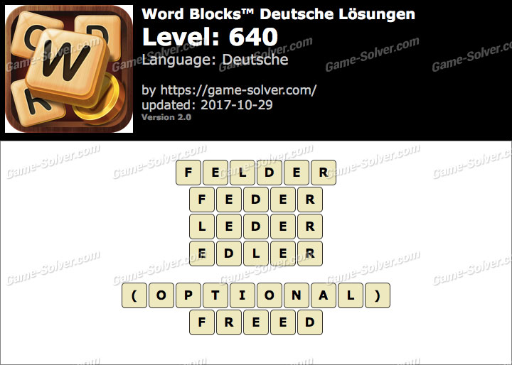 Word Blocks Level 640 Lösungen