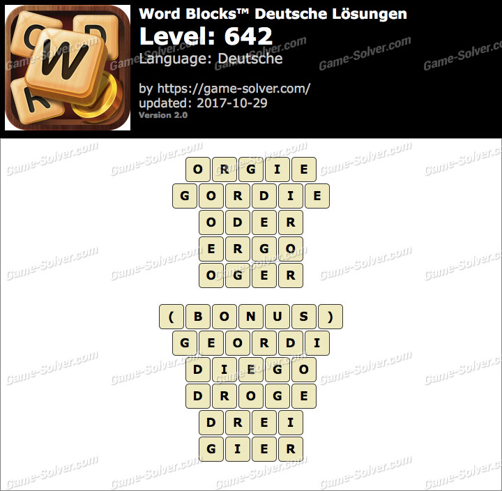 Word Blocks Level 642 Lösungen