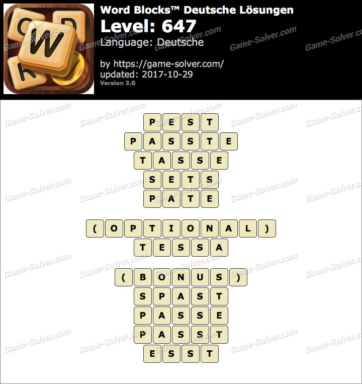 Word Blocks Level 647 Lösungen