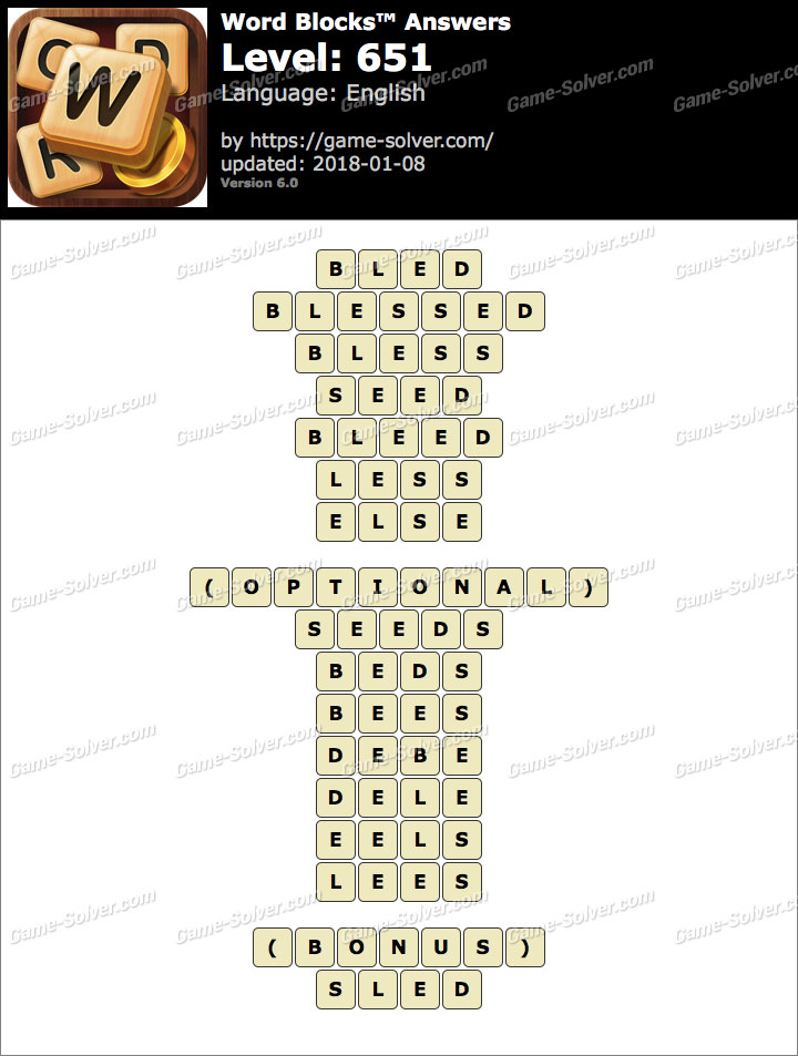 Word Blocks Level 651 Answers