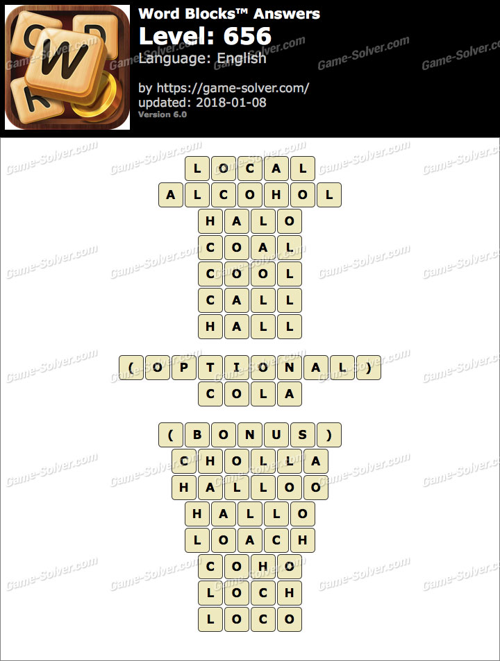 Word Blocks Level 656 Answers