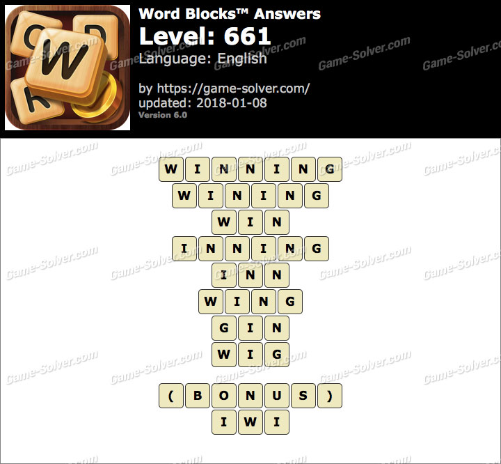 Word Blocks Level 661 Answers