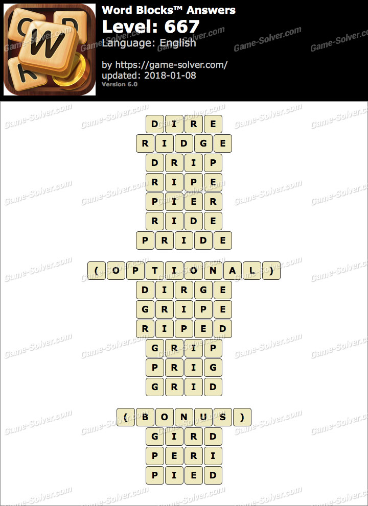 Word Blocks Level 667 Answers