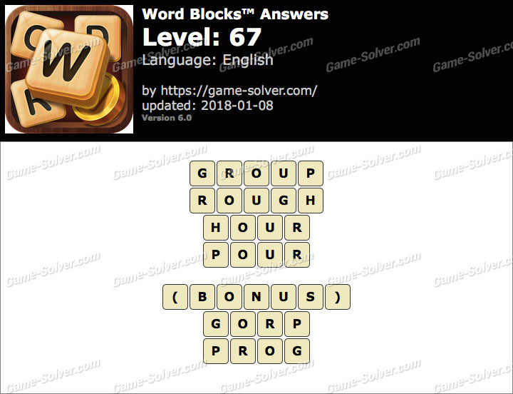 Word Blocks Level 67 Answers