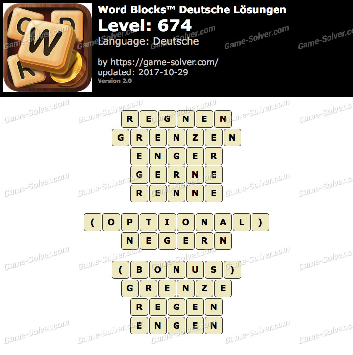 Word Blocks Level 674 Lösungen
