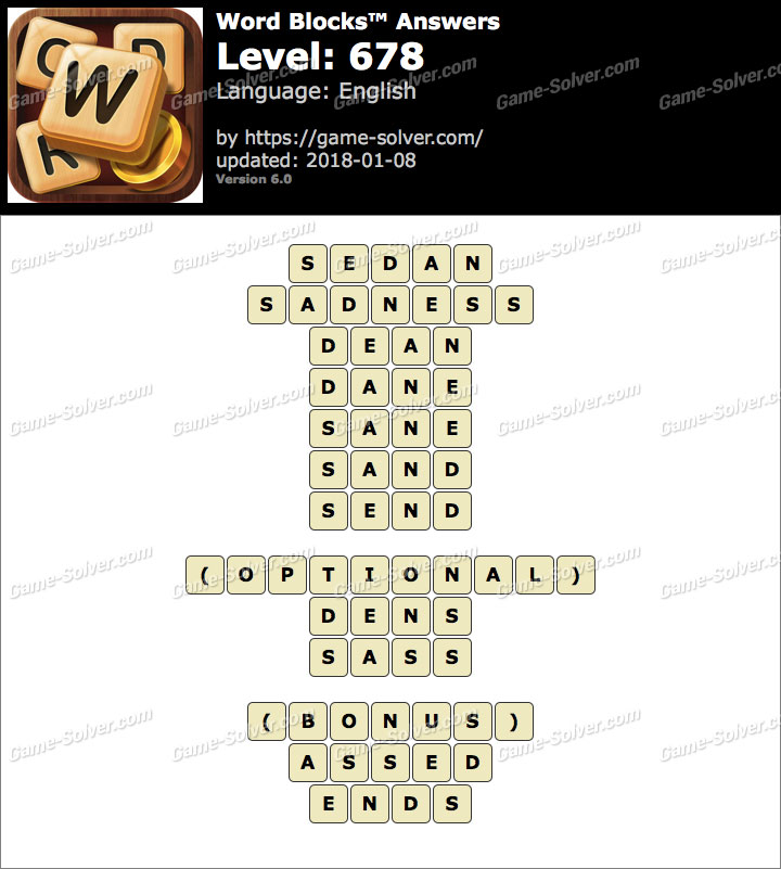 Word Blocks Level 678 Answers