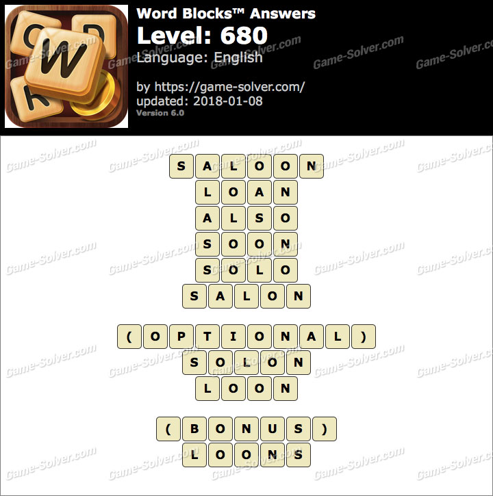 Word Blocks Level 680 Answers