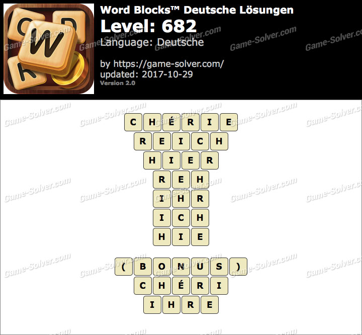 Word Blocks Level 682 Lösungen