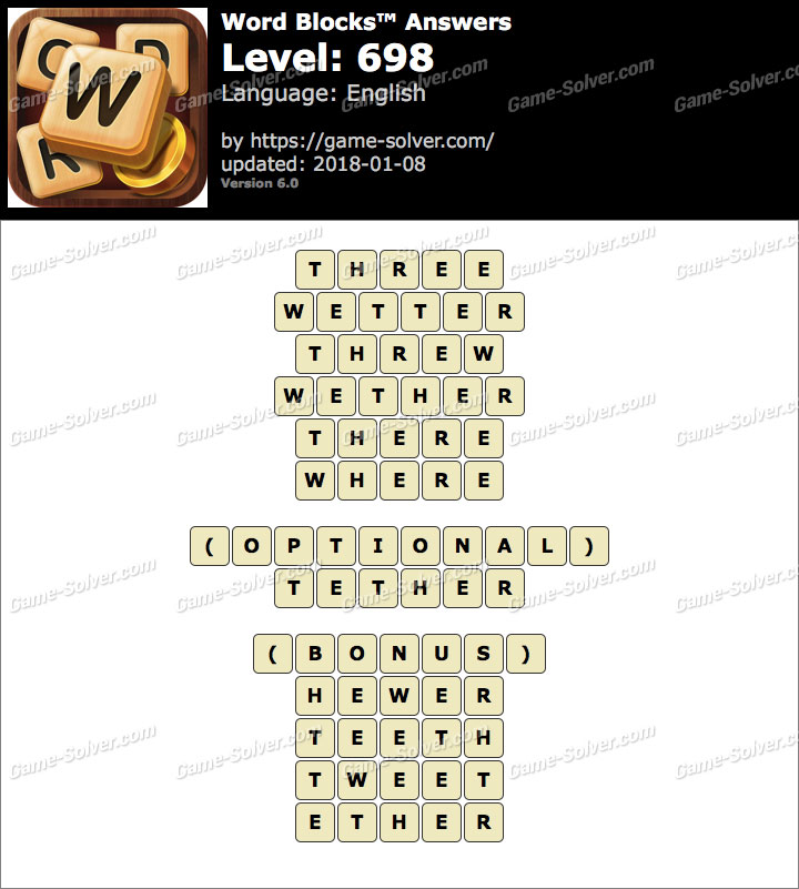 Word Blocks Level 698 Answers