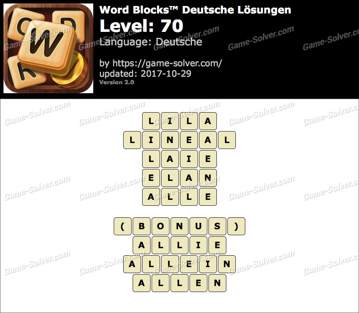 Word Blocks Level 70 Lösungen