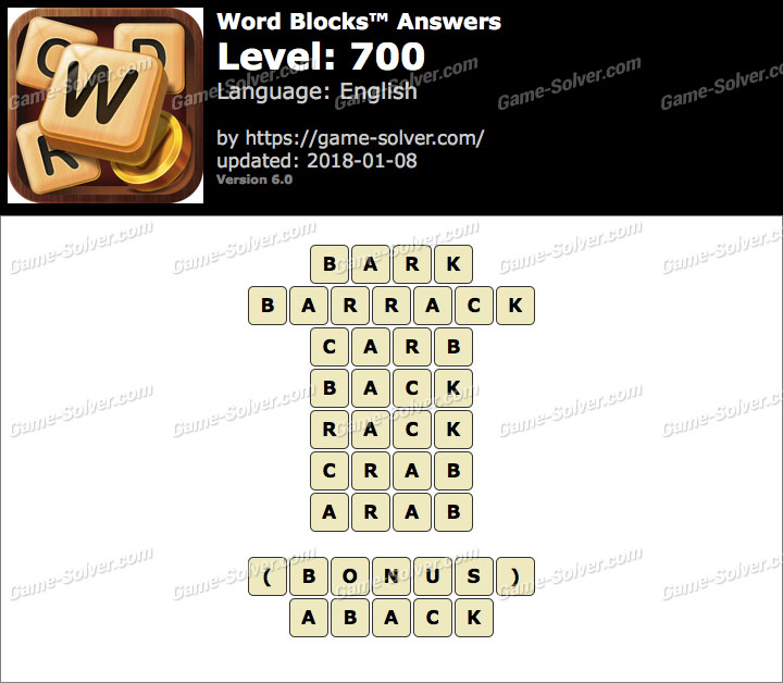 Word Blocks Level 700 Answers
