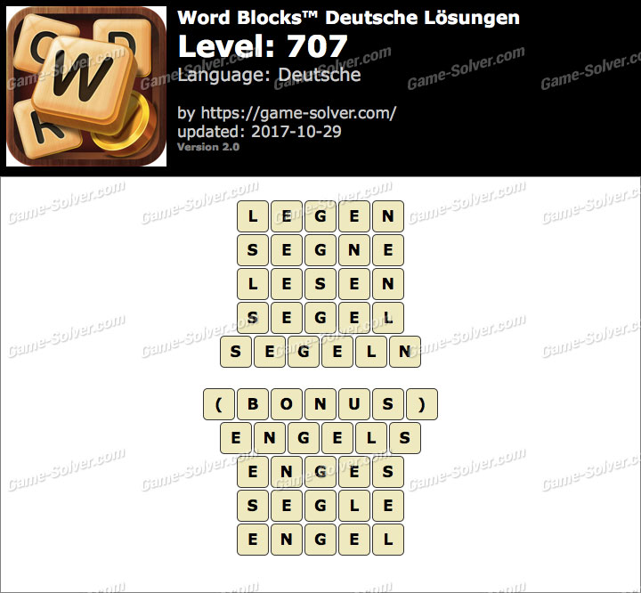 Word Blocks Level 707 Lösungen