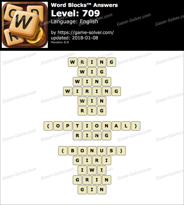 Word Blocks Level 709 Answers