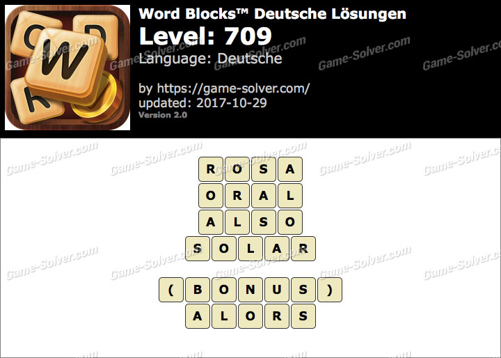 Word Blocks Level 709 Lösungen