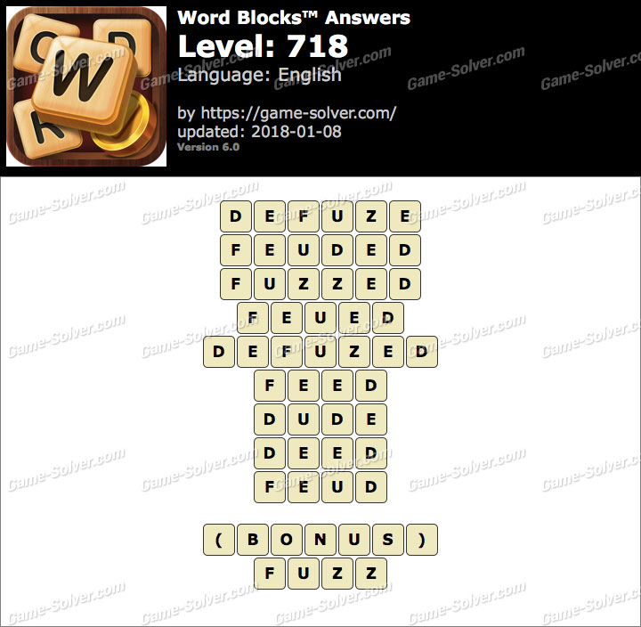 Word Blocks Level 718 Answers
