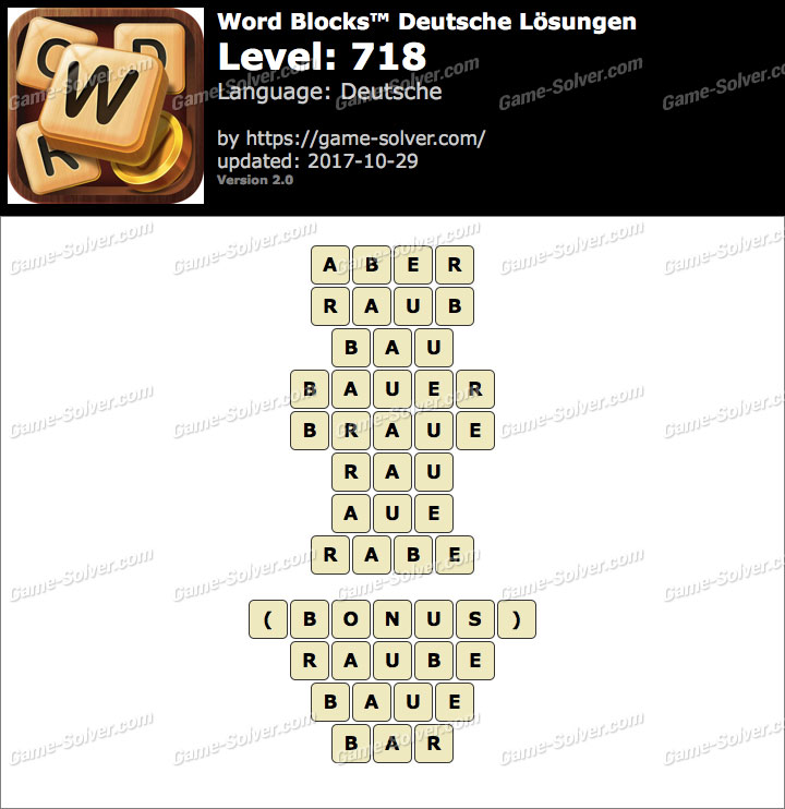 Word Blocks Level 718 Lösungen