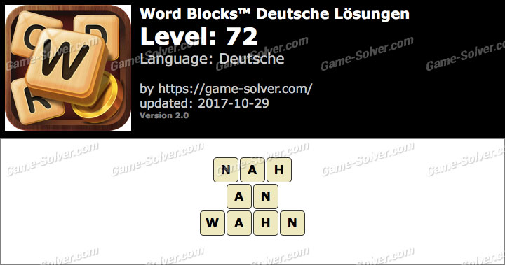 Word Blocks Level 72 Lösungen