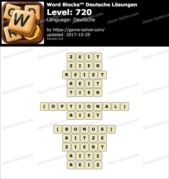 Word Blocks Level 720 Lösungen